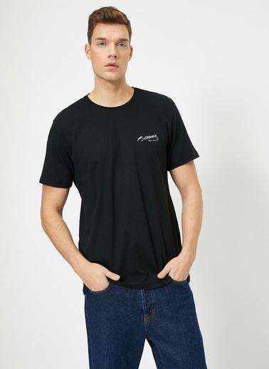 Koton Atatürk Baskılı Bisiklet Yaka Regular Fit T-Shirt Siyah